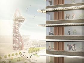 UCL East masterplan by LDA Design - illustrative view of Lifschutz Davidson Sandilands' Pool Street West tower
