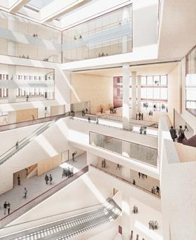 UCL East masterplan by LDA Design - illustrative internal view of Stanton Williams' Marshgate I