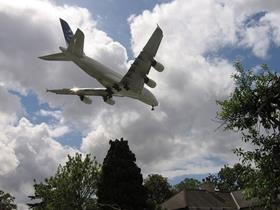 Airbus A380 landing at Heathrow