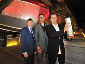 Stirling Prize 2011: Patrik Schumacher (right) and Lars Teichmann of Zaha Hadid Architects with Evelyn Grace Academy principal Peter Walker (left)