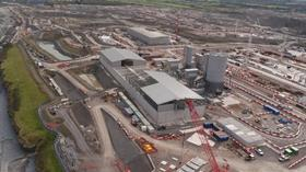 Aerial view of aggregate store and concrete batching plant