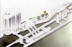 Original - unbuilt - proposal for over-station development at Southwark Tube station