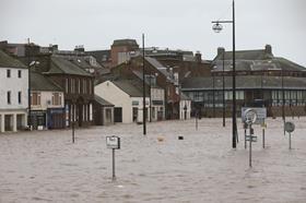 Flooded street in Dumfries, Scotland