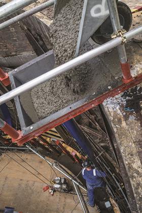 Wheelbarrow concrete pour - Battersea Power Station