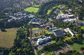 University of Exeter Aerial with Site Boundary