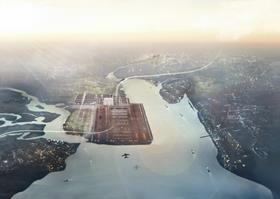 Thames Estuary airport would cost £50bn. Image by Foster and Partners
