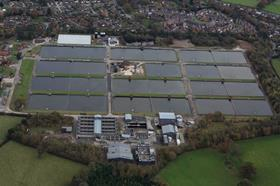 Aerial view of the Oswestry Water Treatment Works