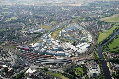 Aerial view of the 45ha York Central masterplan drawn up by Allies & Morrison and Arup