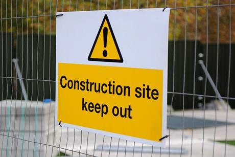 Safety sign on construction site