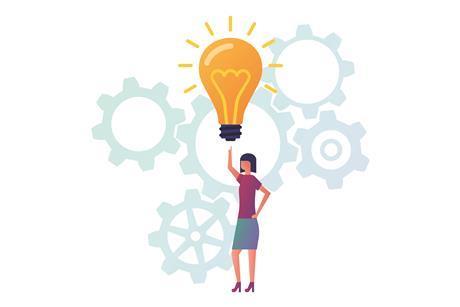 shutterstock woman light bulb