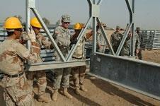 American soldiers teaching bridge building in Iraq