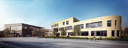 This is the latest design for Sheppard Robson's Litherland High School in Liverpool, a One School Pathfinder project for Sefton council