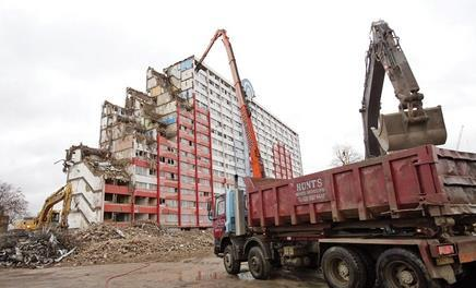 The demolition of the Lintons estate, to be replaced by 500 new homes
