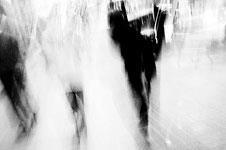 Workers walking along street