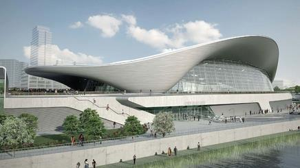 The aquatics centre, shown here in 'legacy mode', has been dogged by stories about its green performance