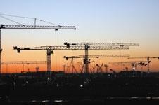 Sunrise at building site