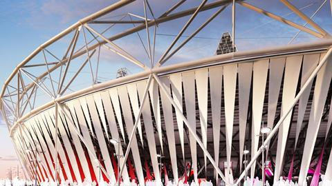 2012 Olympic Stadium wrap, Dow, Populous