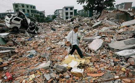 The earthquake destroyed the town of Beichuan and much of the surrounding area, killing 70,000 people