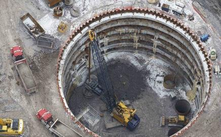 Foundations for the 610m Chicago Spire, set to be the tallest building in the US