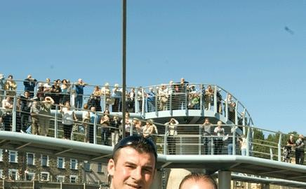 World boxing champion Joe Calzaghe with father Enzo at the Pont Calzaghe Bridge openning
