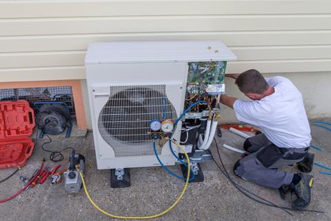 Heat pump installer shutterstock