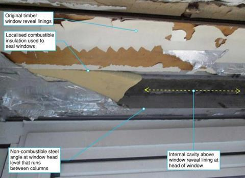The combustible material used to seal the gaps between Grenfell Tower's original window reveal linings and the new windows installed as part of the refurbishment