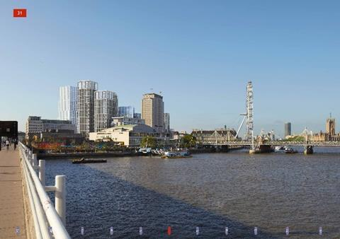 Developer's CGI of the Shell Centre development as it would look from Waterloo Bridge