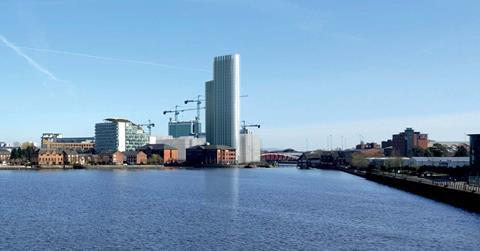 Simpson Haugh's Clipper Quay tower, seen from Salford Quays