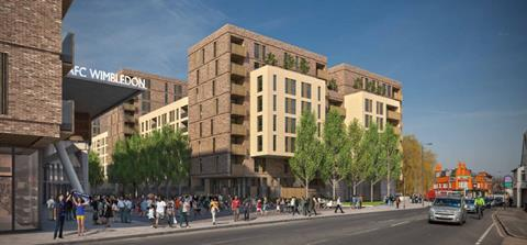 AFC Wimbledon Galliard Homes proposal to redevelop greyhound stadium_stadium and flats from Plough Lane