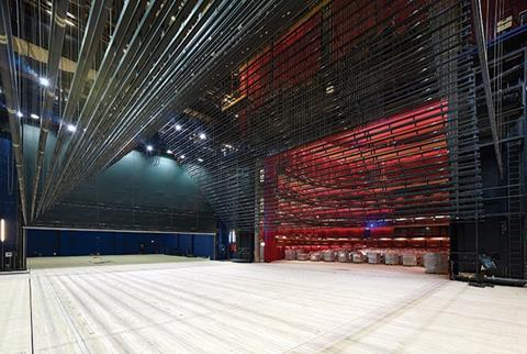 The opera stage and fly-tower are almost five times the volume of the auditorium