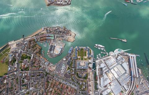 Aerial view of Portsmouth Harbour, home to Land Rover BAR