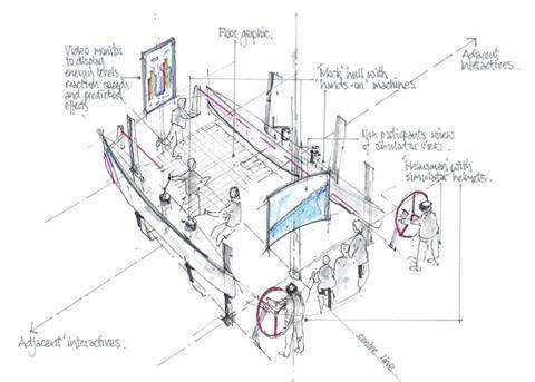 Sketch of a mock-up of a typical BAR hull that will be built and put in the visitors centre