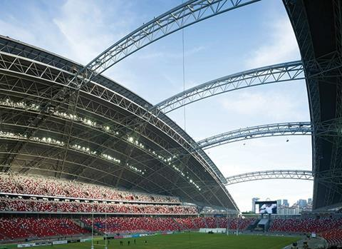 The stadium's opening roof provides natural ventilation and offers direct views out to the city
