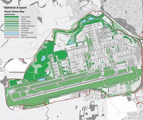 Figure 11: Mapping green areas at Gatwick airport.