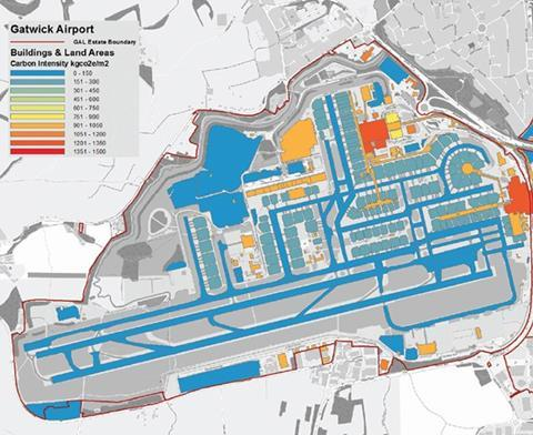 Figure 10: Gatwick airport building and land areas carbon footprint mapping