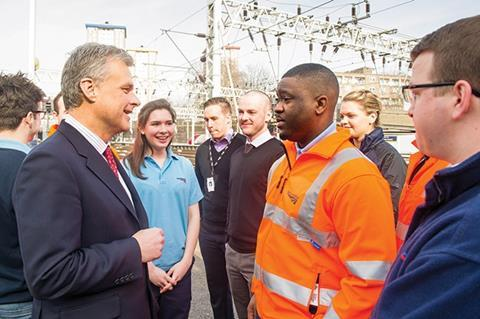Mark Carne, chief executive of Network Rail, meeting apprentices during National Apprenticeship Week