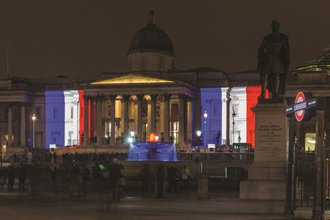 National Gallery with French flag