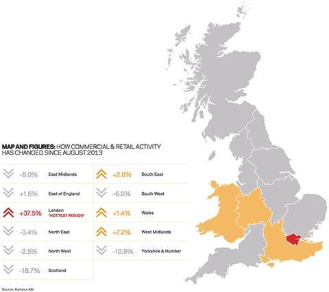 Map and figures: How commercial&retail activity has changed since August 2013