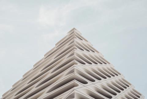 White triangular buidlign cladding