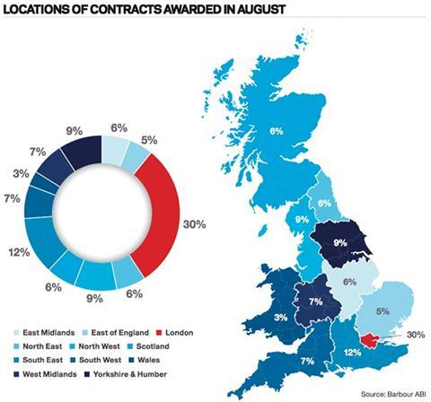 Locations of contracts awarded in August
