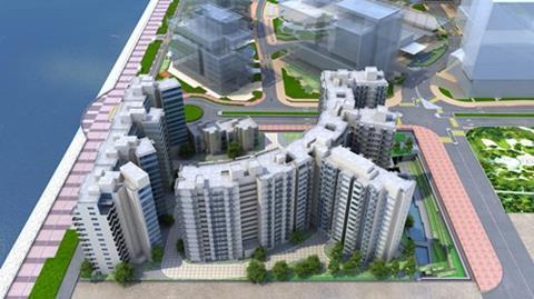 Great Eagle Group residendial scheme overlooking Tai Po's Tolo Harbour in Hong Kong
