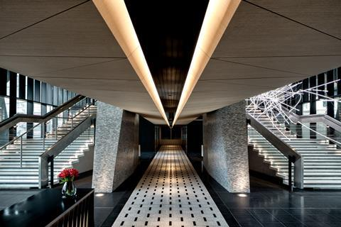 Centre point tower, lobby area (showing cerith wyn evans light installation) â© mark luscombe whyte (1)
