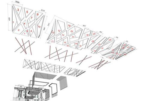 The exploded image separates the key structural elements within the cladding system