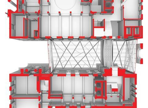 A worm's-eye view shows how the diagrid cladding structure attempts to reconcile the compositional misalignments between the existing building on each side of the new entrance