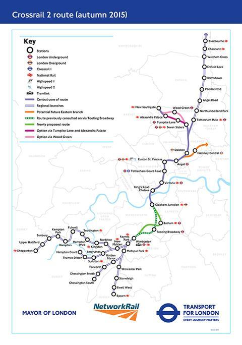 Crossrail 2 proposed route