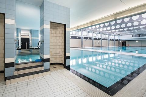 The new purpose-built pool incorporates original features such as the 'slipper bath' cubicles