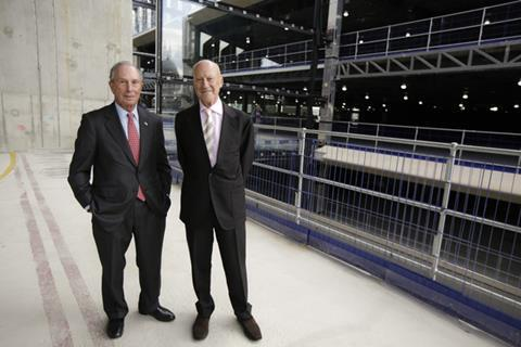 Michael Bloomberg and Norman Foster at the topping-out of Bloomberg's European HQ