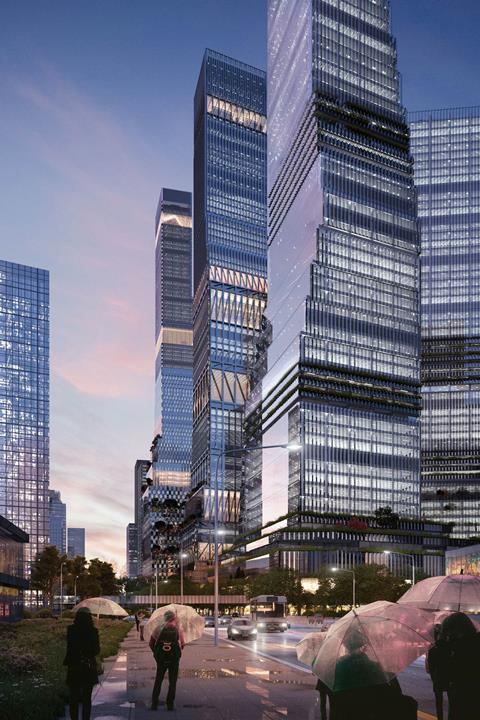 Towers forming part of Mecanoo's Shenzhen North Station masterplan
