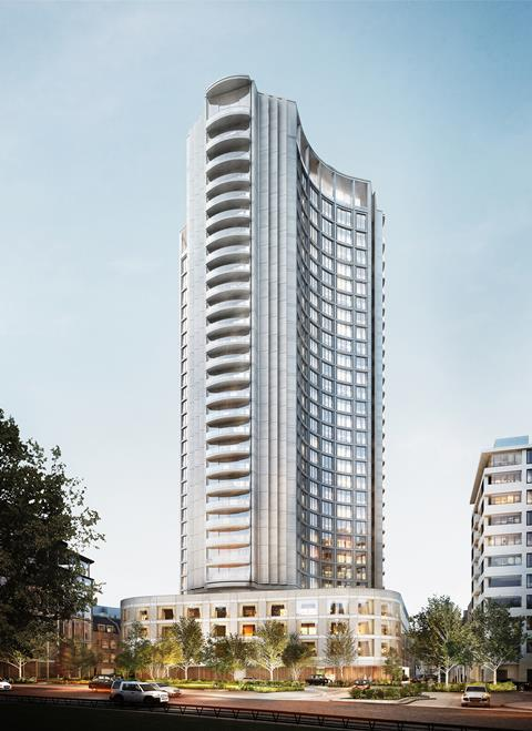 Hopkins - planned refurb at Park Lane Hilton viewed from Hyde Park