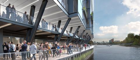Populous' proposed Riverside Stand at Fulham's Craven Cottage - the river walk on a match day